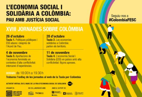 """Arriben les XVIII Jornades de la Taula. """"Economia social i solidària a Colòmbia: Pau amb justícia social"""""""